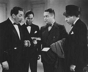 Warner Oland, Keye Luke, J Edward Bromberg and Harold Huber