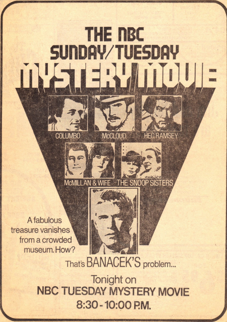 Banacek Newspaper Ad  Jan 15  1974 - The Vanishing Chalice