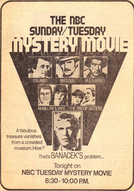 Banacek Newspaper Ad  Jan 15  1974 - The Vanishing Chalice