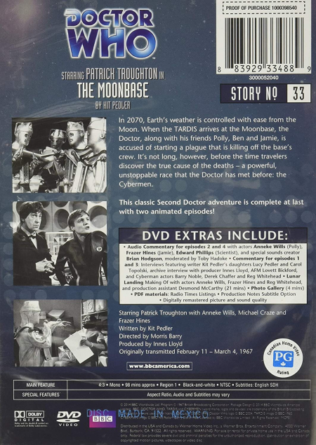 Doctor Who 0033 The Moonbase US DVDb